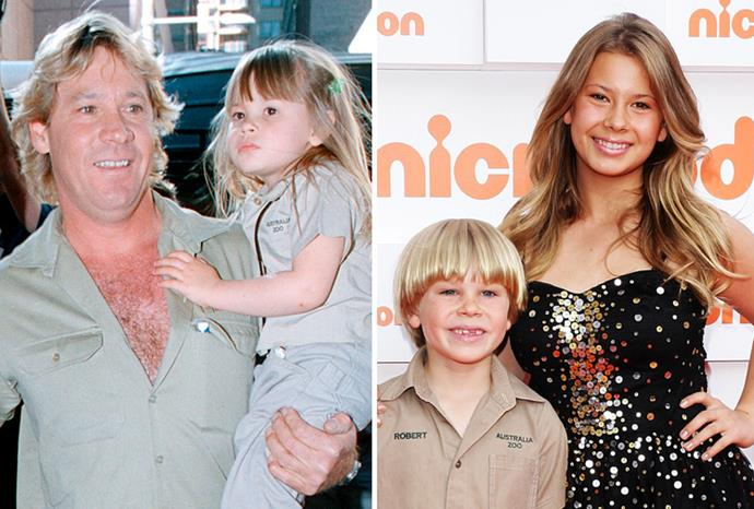 Bindi Irwin with her dad in 2002, and on the red carpet with brother Robert in October 2011.