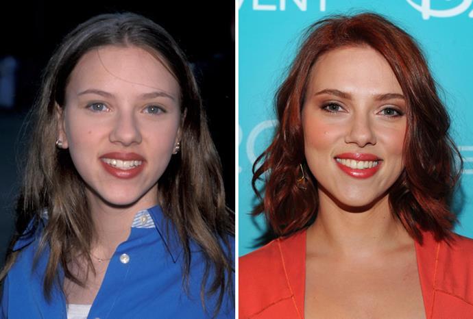Scarlett Johansson in 1998 and in August 2011.