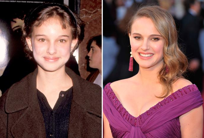 Natalie Portman in 1994 and at the 2011 Oscars.