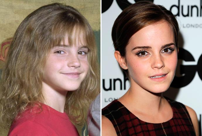 *Harry Potter* star Emma Watson in 2000, and in September 2011.