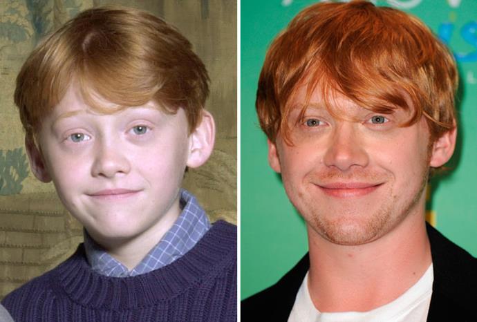 Fellow *Harry Potter* alumni Rupert Grint in 2000 and September 2011.