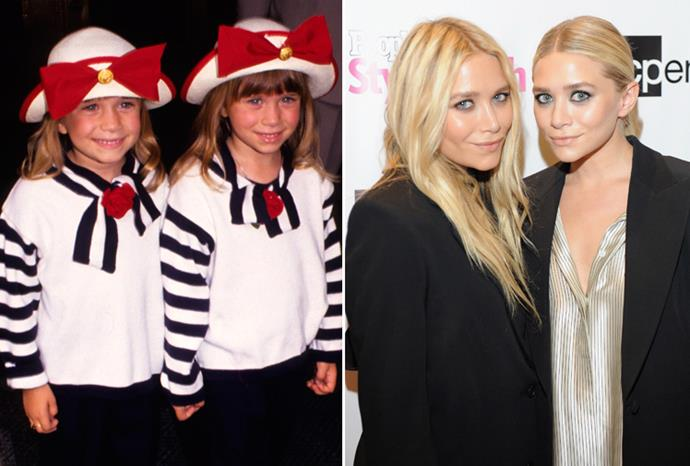 Mary-Kate and Ashley Olsen in 1980, and at a fashion show in 2011.