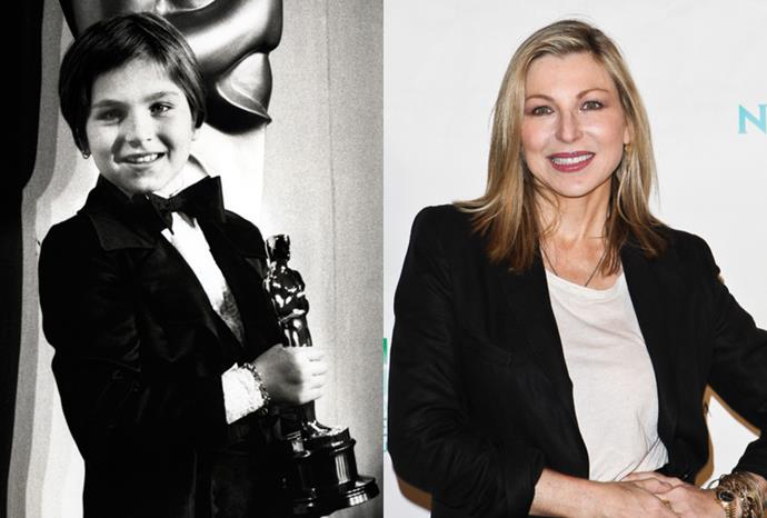 Tatum O'Neal at the 1974 Oscars and in October 2011.