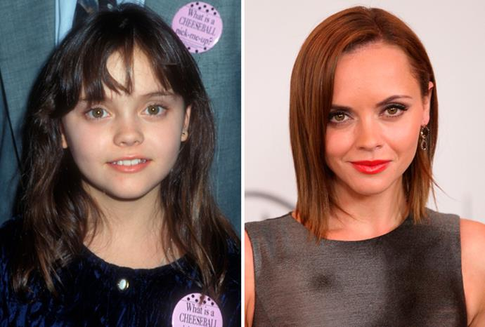 Christina Ricci in 1990, and in August 2011.