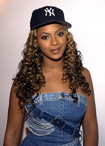 Double denim and a baseball cap in 2002.