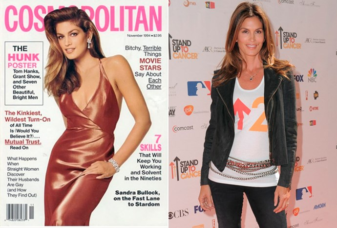 Cindy Crawford at 28 in 1994 and at 45 in 2011.