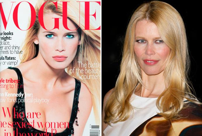 Claudia Schiffer at 25 in 1995 and at 41 in 2011.