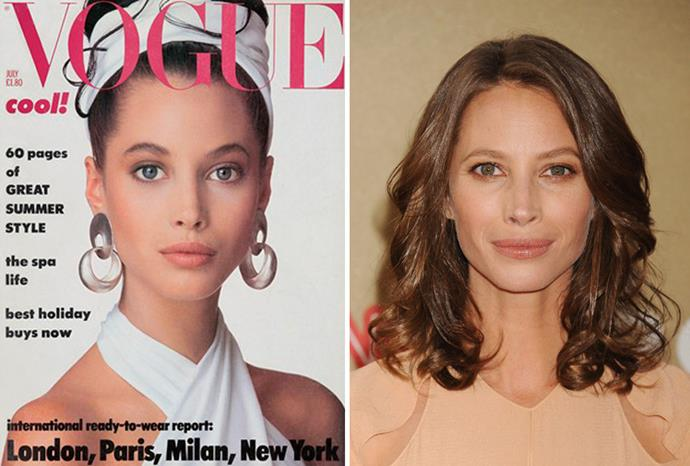 Christy Turlington in 1986 aged 17 and in 2011 aged 43.