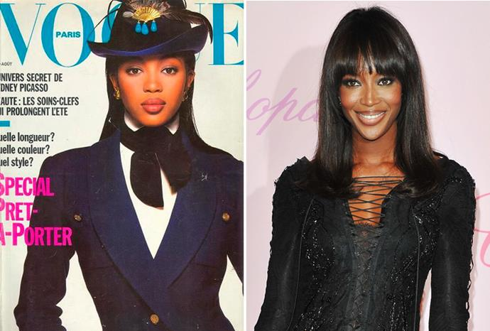 Naomi Campbell aged 28 in 1998 and aged 41 in 2011.