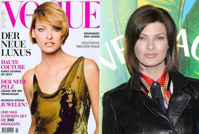 Linda Evangelista aged 31 in 1996 and aged 46 in 2011.