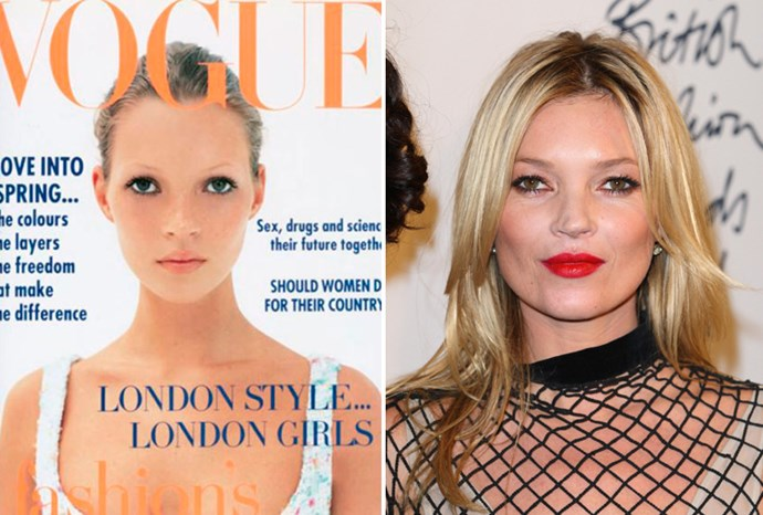 Kate Moss aged 19 in 1993 and aged 38 in 2011.