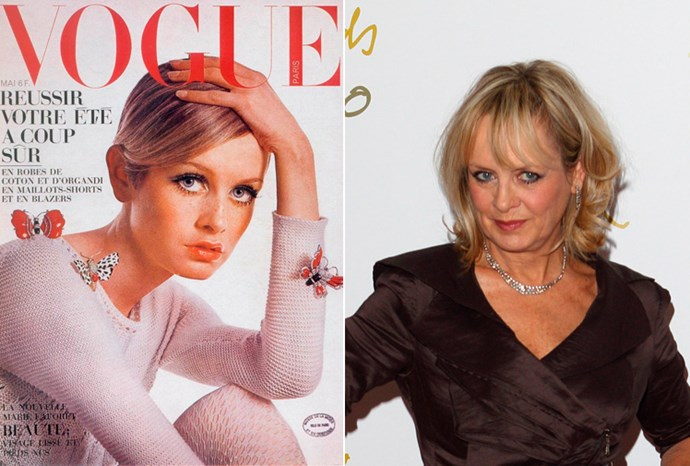 Twiggy at 18 in 1967 and at 62 in 2011.
