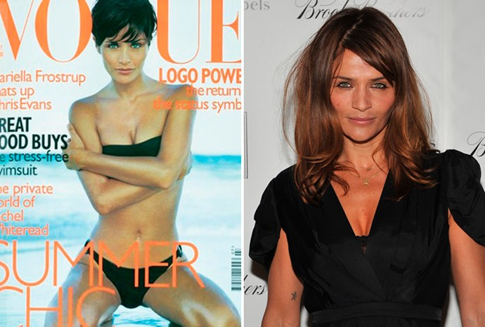 Helena Christensen at 29 in 1997 and at 43 in 2011.
