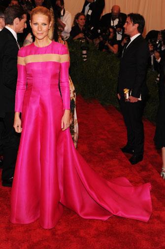 Gwyneth chose a eye-wateringly bright dress in May.