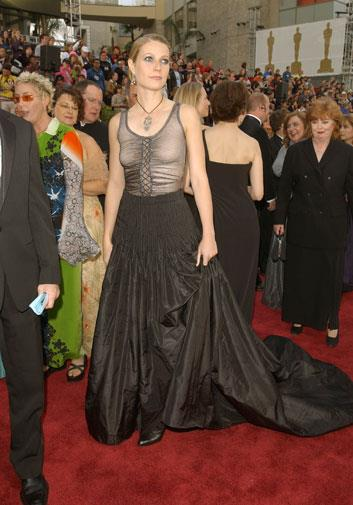 Gwyneth later revealed she regretted this bra-less look at 2002 Oscars.