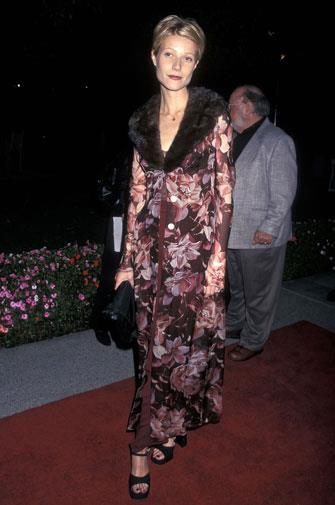 Mixing floral and fur at a 1997 premiere.