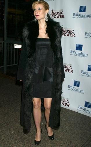 Gwyneth in a long furry coat in 2003.