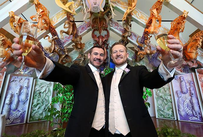 Paul McCarthy and Trent Kandler celebrate their marriage in Wellington.