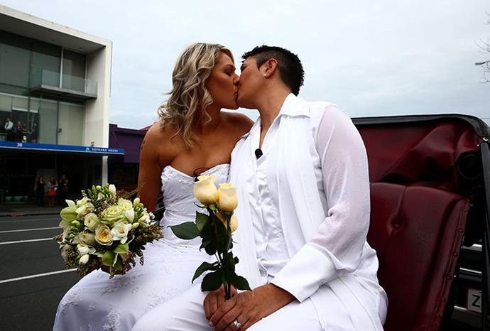 The couple wed at the Auckland Unitary church