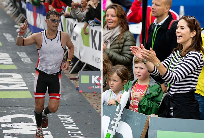Frederik crosses the finish line as Mary, Christian and Isabella cheer.
