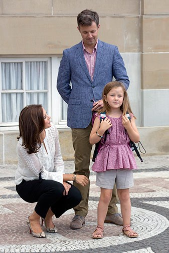 Mary and Frederik escorted Isabella to her first day of school last week.