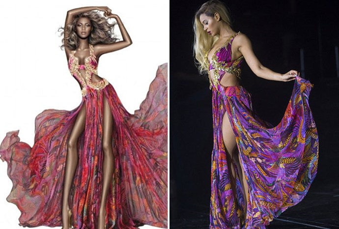 Roberto Cavalli smoothed over Beyonce's signature curves in a recent sketch.