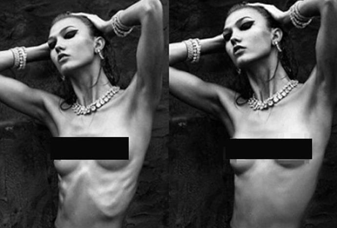International fashion magazine *Numero* made Karlie Kloss appear more full figured.