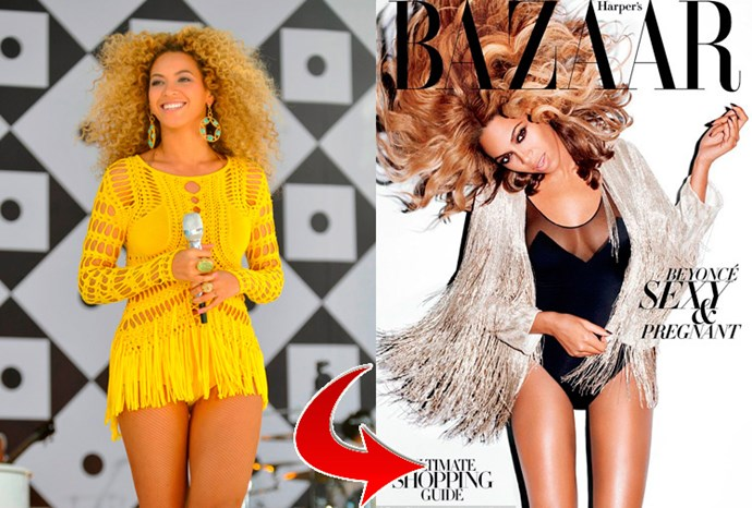 Beyonce Knowles had her famously curvy thighs slimmed down by US Harper's Bazaar.
