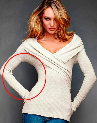 Victoria's Secret was too heavy-handed slimming this model's waist.