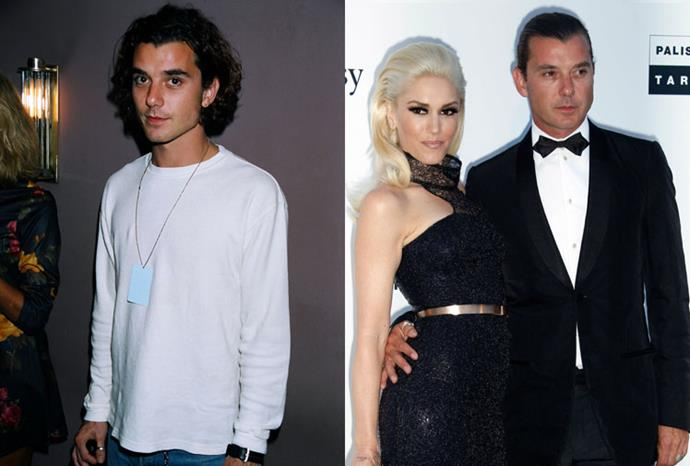 Gavin Rossdale in 1995, and with wife Gwen Stefani in 2011.