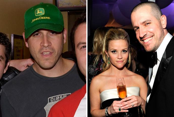 Reese Witherspoon's husband Jim Toth in 2002, and with her in 2012.