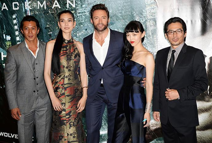 Hugh with the cast and director.