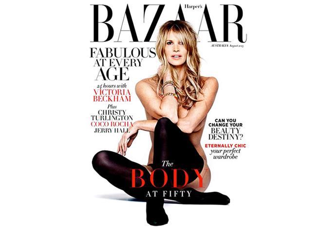 Elle Macpherson on the cover of *Harper's Bazaar*.