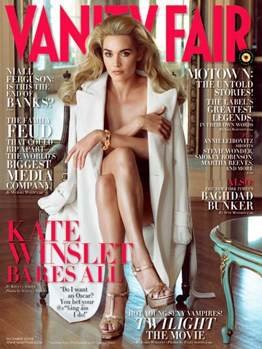 Kate Winslet on the cover of the December 2008 issue of *Vanity Fair*.