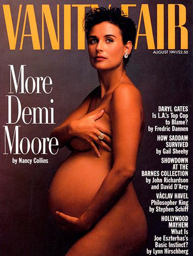 Demi Moore's iconic *Vanity Fair* cover in August 1991.