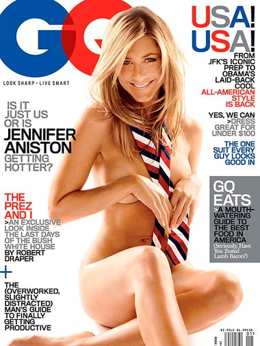 Jennifer Aniston on the cover of *GQ* in January 2009.