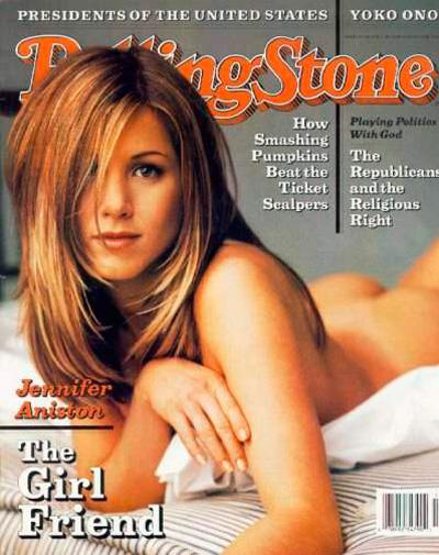 Jennifer Aniston on the cover of *Rolling Stone* in 1996.