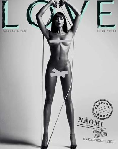 Supermodel Naomi Campbell on the cover of *Love* magazine in February 2010.