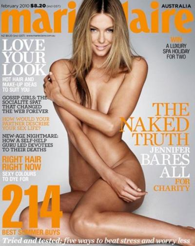 Aussie beauty Jennifer Hawkins on the cover of *Marie Claire* in 2010.