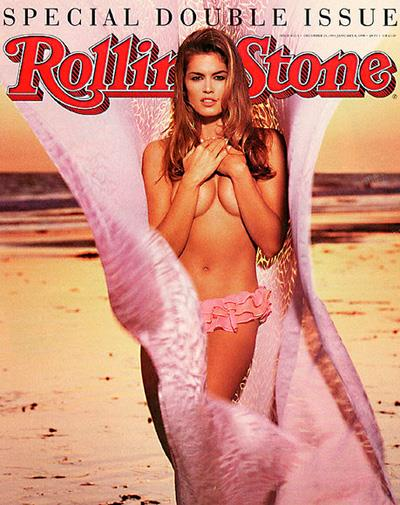 Supermodel Cindy Crawford on the cover of *Rolling Stone* in 1994.