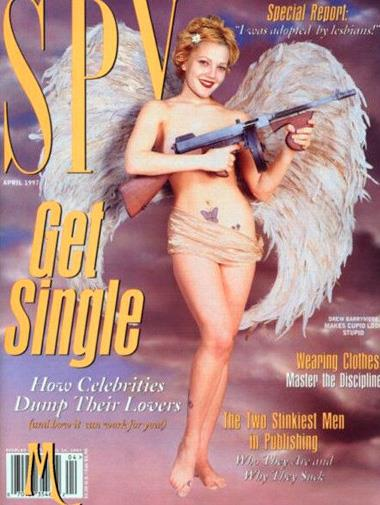 Drew Barrymore on the cover of *Spy* magazine in April 1997.