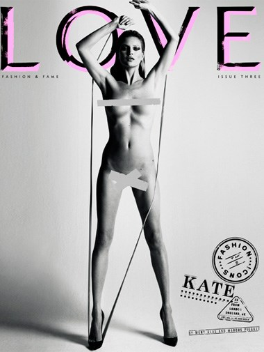 Supermodel Kate Moss on the cover of *Love* magazine in February 2010.