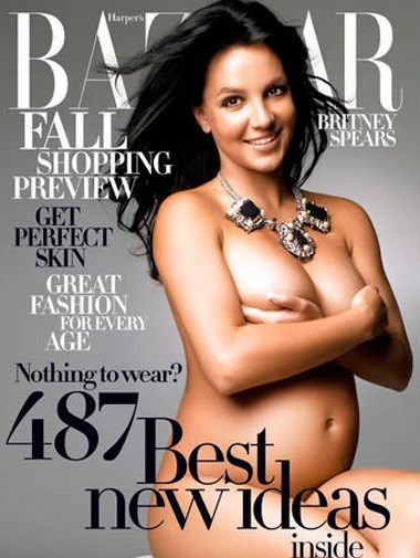 A pregnant Britney Spears on the cover of *Harper's Bazaar* in July 2006.