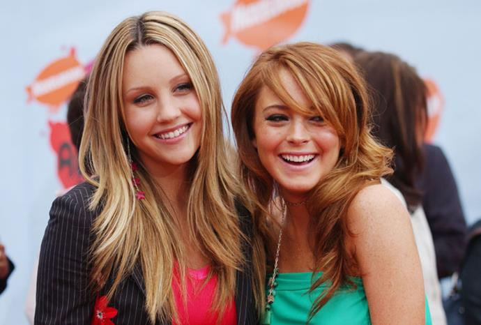Lindsay and fellow troubled former child star in Amanda Bynes in April 2004.