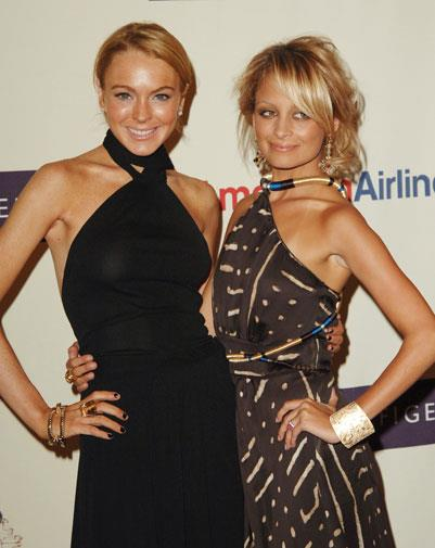 Partying with Nicole Richie in 2005.