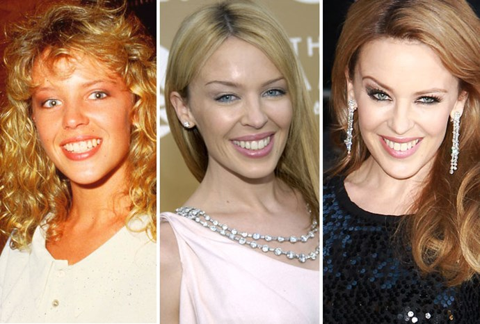 Kylie in 1980, 2004 and 2012.