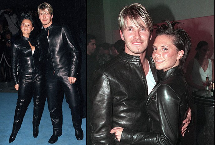 David and Victoria Beckham in their matching black leather outfits in 1999.