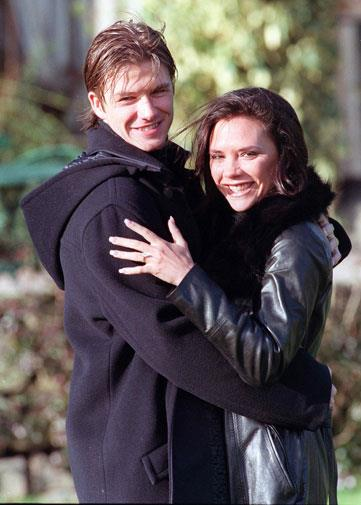 With new fiancee Victoria Adams in 1998.