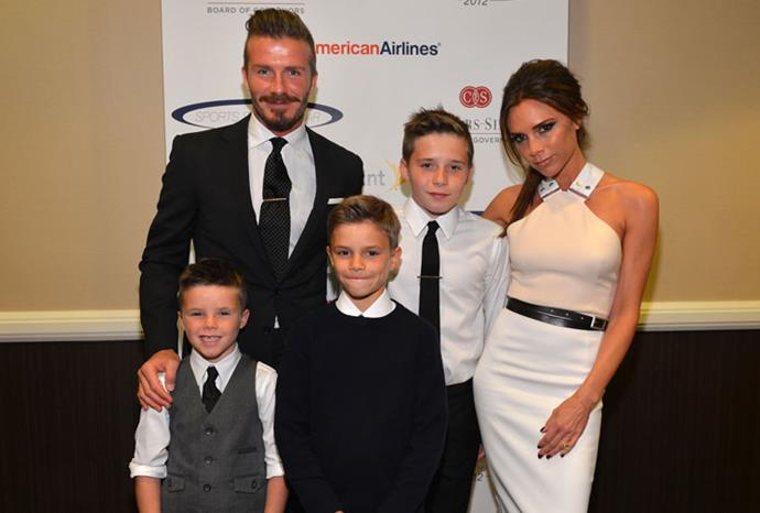 The Beckhams in May 2012.