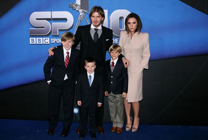 The Beckhams in December 2010.